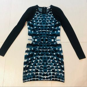 Parker sweater mini dress blue black snake print